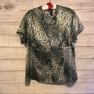 Lane Bryant animal print slinky button plus blouse